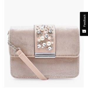 Pale pink velvet embellished crossbody bag